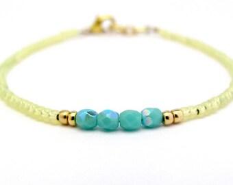 Yellow Friendship Bracelet, Seed Bead Bracelet, Turquoise Bracelet, Bridesmaid Gift, Minimal Bracelet, Summer Jewelry, Hawaiian Jewelry