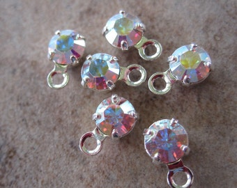 6 Swarovski Crystal and Silver-Plated Brass Drops, Crystal Passions, Crystal AB, Foil Back, 4-4.1mm round - JD90
