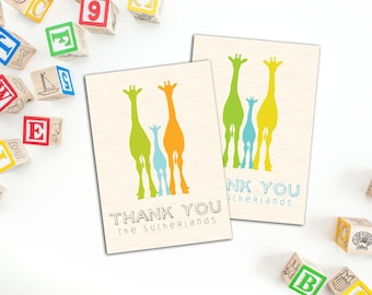 Giraffe Silhouette Family Thank you Cards, Set of ten Cards, Fun Family Personalized Note Cards, Baby Shower Thank You Cards, Fun Note Cards