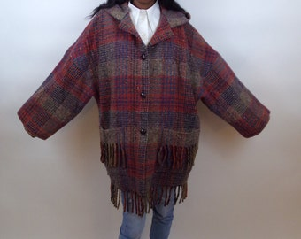 Sale Vintage 1970s hippie boho houndstooth fringe oversized car coat jacket
