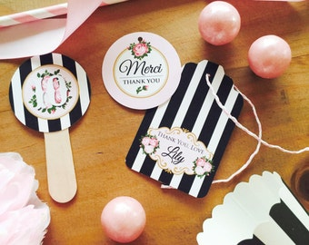 PARIS Party Printable Set - Vintage-style Invitation, Cupcake Toppers, Bottle Labels, Favor Tags & more, Eiffel Tower, Floral - DIY Printing