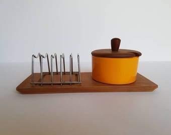 Danish Toast Rack and Jam / Honey Pot Set - Luthje Wood