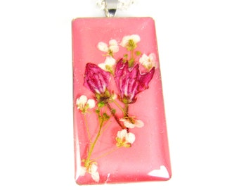 Pink is for People,  Pendant, Real Flowers, Pressed Flower Jewelry  (1396)