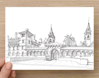 Ink Drawing of Flagler College in St. Augustine, Florida - Drawing, Art, Architecture, Sketch, Spanish, Pen and Ink, 5x7, 8x10, Print