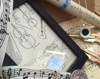 Music Themed Vintage Gift Selection Box, with framed vintage print, vintage sheet music, Ooak necklace, and vintage Christmas decorations