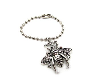 NEW Antique Silver Plated Bumble Bee Purse Charm - Dangling Charm