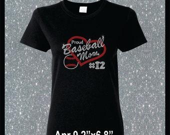 Personalized Rhinestone Proud Baseball Mom Shirt I love Baseball Heart Shirt