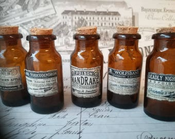 5 Miniature Apothecary Jar Bottle Kit Brown Glass Bottle Potion Cabinet of Curiosities Witch Potion Bottle Fantasy Poison - to fill yourself
