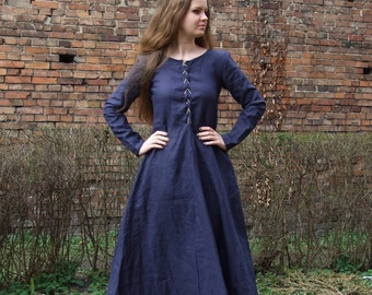 Medieval Dress Cotte Simple laced-up, XV century, reenactment