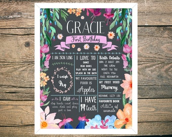 First Birthday Chalkboard Sign Poster - Girl - Digital / Printable - Bright Floral - Flowers - Pink - Green - Orange - Wildflower theme