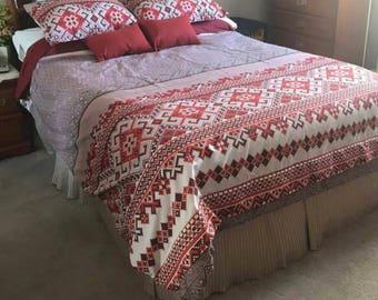 Ukranian ornamental Red Vishivanka Cotton bedding sheet Single Twin Queen King fitted sheet custom sheet  Spring gift for her for Mom