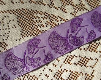 9-1/2 Yards Ginkgo Leaf Reversible Trim Jacquard Ribbon 1 Inch Wide Lavender And Purple  INT-Z
