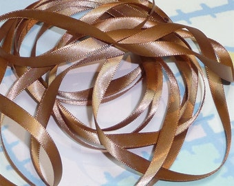 CHIPMUNK DouBLe FaCeD SaTiN RiBBoN, Polyester 1/4 inch wide, 5 Yards
