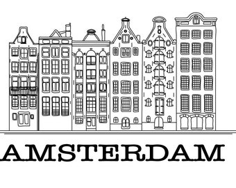 Amsterdam; Vector; Isolated; Illustration; Original drawing; Black&White.