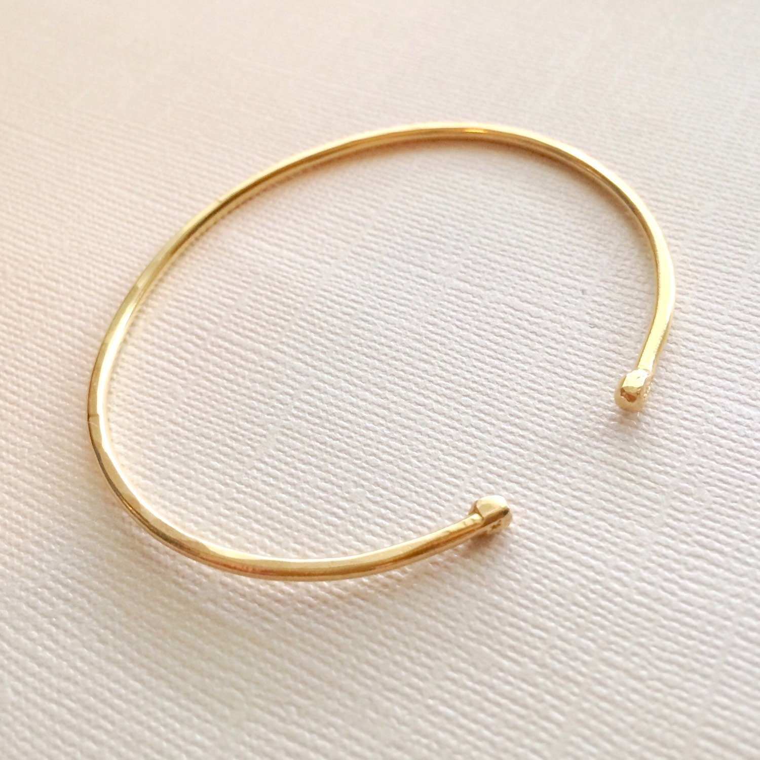 Ball End Stacking Cuff Simple Hand Forged Brass Cuff