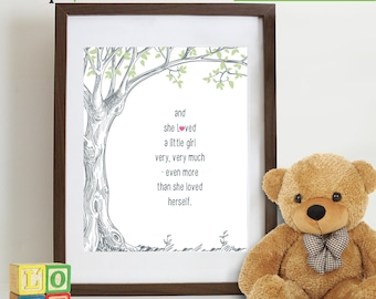 Little Girls quote Print, Love print, Tree with quote, Birch tree, Little Girls are, Typography,  nursery print, Typography Item 121