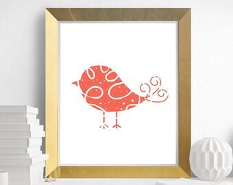 Cute Bird Print, Coral Bird Art, Animal Art, Nursery Wall Art - Printable - 8x10 - INSTANT Download 8x10