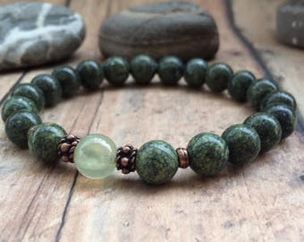 Serpentine Bracelet, Heart Chakra Bracelet,  Bohemian Organic Earthy Boho Bracelet,  Natural Serpentine Jewelry, Meditation Bracelet.