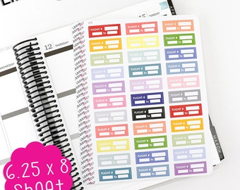 LS98 Pale Flight Tracker!  Set of 33 Perfect for the Erin Condren Planner!!!