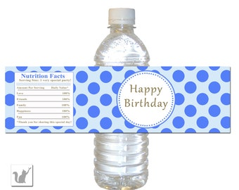 INSTANT DOWNLOAD Blue Polka Dots Happy Birthday Party Water Bottle Label - Birthday Party Favors Party Decorations