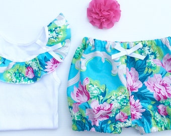 Baby Girl Clothes, Ruffle singlet & matching shorties baby girl outfit