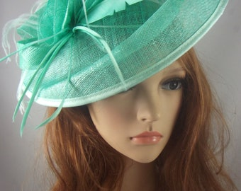 Turquoise Large Oval Saucer Sinamay Fascinator - Occasion Wedding Races Hat
