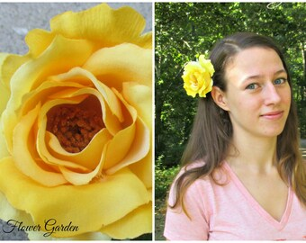Yellow rose hair flower clip