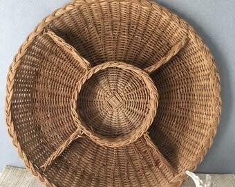 Vintage five section basket   round basket   section basket   flat basket tray   basket   coastal decor   beach decor