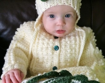 Crocheted Baby Irish Knit Sweater w Matching Hat w Sage Green Flower Girls Newborn & Infant Sizes Custom Order