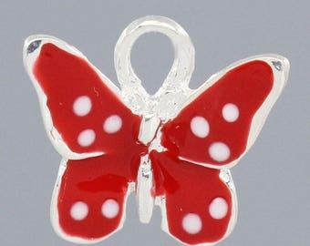 x 1 red metal Butterfly pendant charm silver enamel.