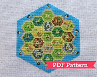Settlers of Catan Board Game Cross Stitch Pattern