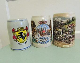 lot of three German beer mugs