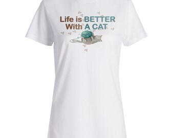 Life is better with the cat Ladies T-shirt o87f