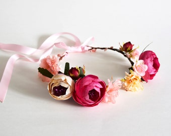 Handmade Flower Crown, Floral Crown, Wedding Flower Crown, Flower Girl Flower Crown, Bridal Headpiece, Pink Flower