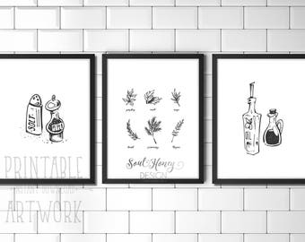 Set of 3 Cooking Prints | Oil and Vinegar | Salt and Pepper | Culinary Herbs | Kitchen Dining Room Wall Art Decor | Downloadable Prints
