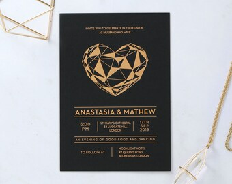 Modern Heart Wedding Stationery, Foil Stamping & Black - IWF16118-GK-MG