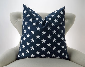 Navy Stars Pillow Cover -MANY SIZES- Blue white nautical decorative throw euro sham cushion modern contemporary premier prints 28 22 18