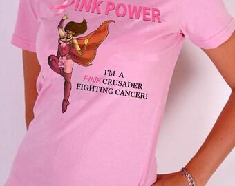 Pink Crusader Breast Cancer Awareness T-Shirt Design 3