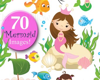 Mermaid Clipart, Value Clipart, Digital Clipart Fish, Commercial Use OK, Clipart Crab, Sea Creature Graphics, Clipart Seashell