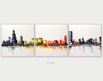 Original Chicago Abstract Art, Urban Modern Painting, Textured Painting, Home Decor, Oil On Canvas, Chicago Three Canvas Skyline