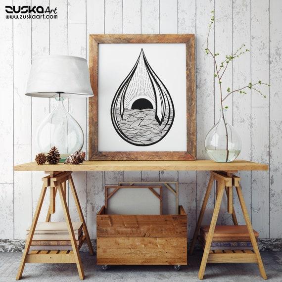Black Sun Teardrop | Enhanced Matte Paper Poster | Ink Tattoo style | Graphic Design | Ocean Waves | Sunrise sunset| ZuskaArt
