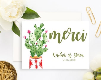 Cactus Wedding Thank You Card with white envelope - Wedding Thank You Card - Cactus Wedding Invitation Cactus Wedding -Cactus Thank You Card