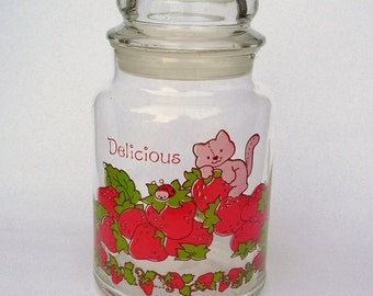 Vintage 1980 STRAWBERRY SHORTCAKE Jar with Lid