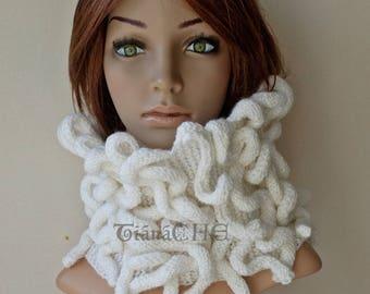 White Knit Cowl Scarf Sale Textured Medusa Unisex Octopus Scarf /Ladies Neckwarmer /Designer Cowl /Fantasy Gothic Scarf/ New Design Cowl