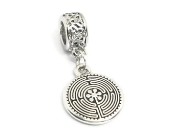 Labyrinth Maze Large Hole Bead with Celtic Knotwork European Style