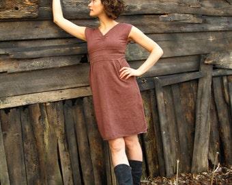 Gathered V Dress. Tank Dress.  V neck. Empire waist. Pleated Skirt. Above Knee. Sleeveless Dress. Straight Skirt.