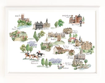 Map of the North Cotswolds, Stratford and Worcester. Signed Limited Edition Giclee Print of an Original Illustration. In Watercolour.