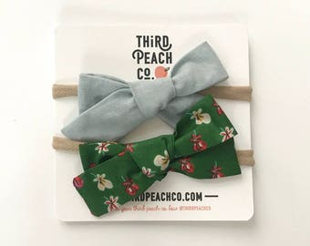 2 Bow Set- Light Blue and Green Pansies
