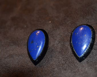 Vintage Blue with Gold Flake Teardrop Clip On Earrings / Free Shipping