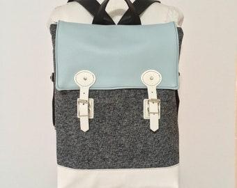 backpack, grey backpack, napsack, vegan back pack, student bag, cycling bag, travel bag, diaper bag, gift for teacher, bicycle bag